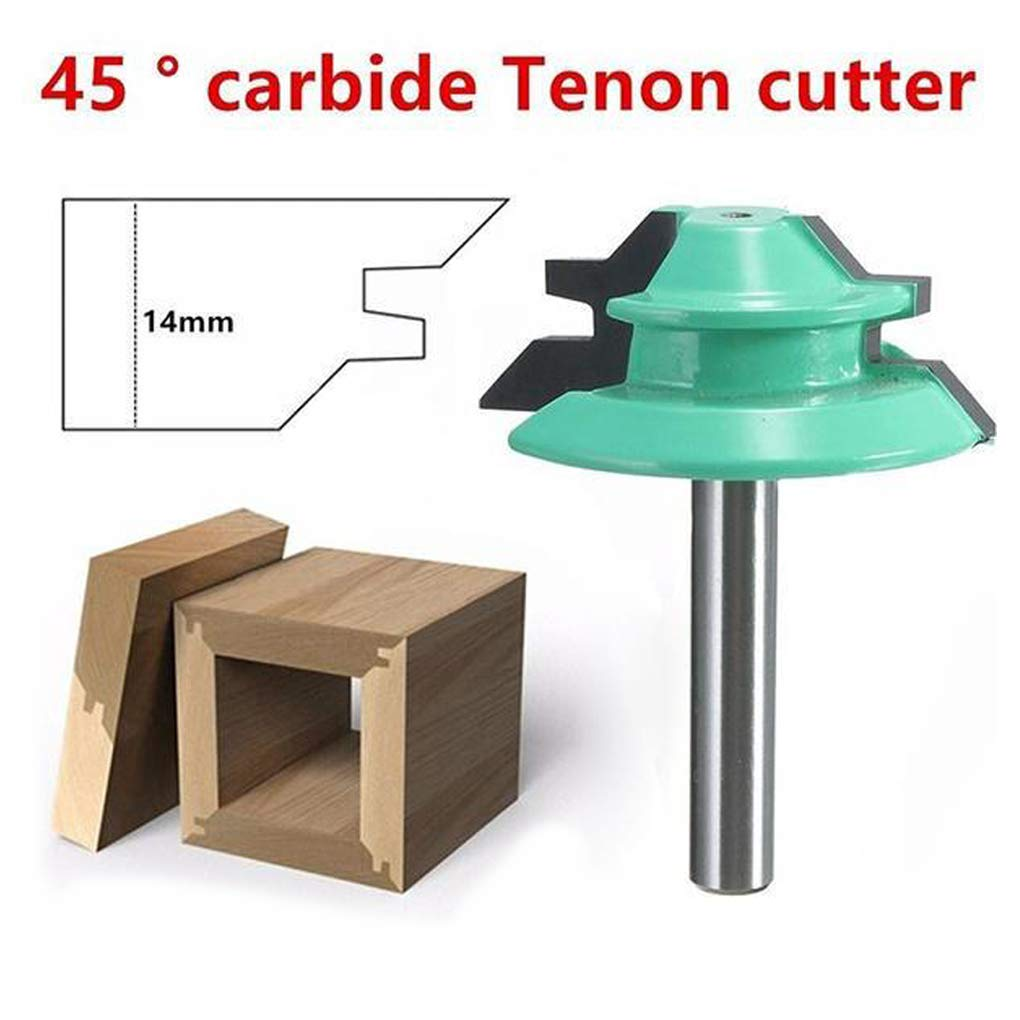 Miter Router Bit 45° 1/4''1-1/2'' Tenon Cutter for Woodworking