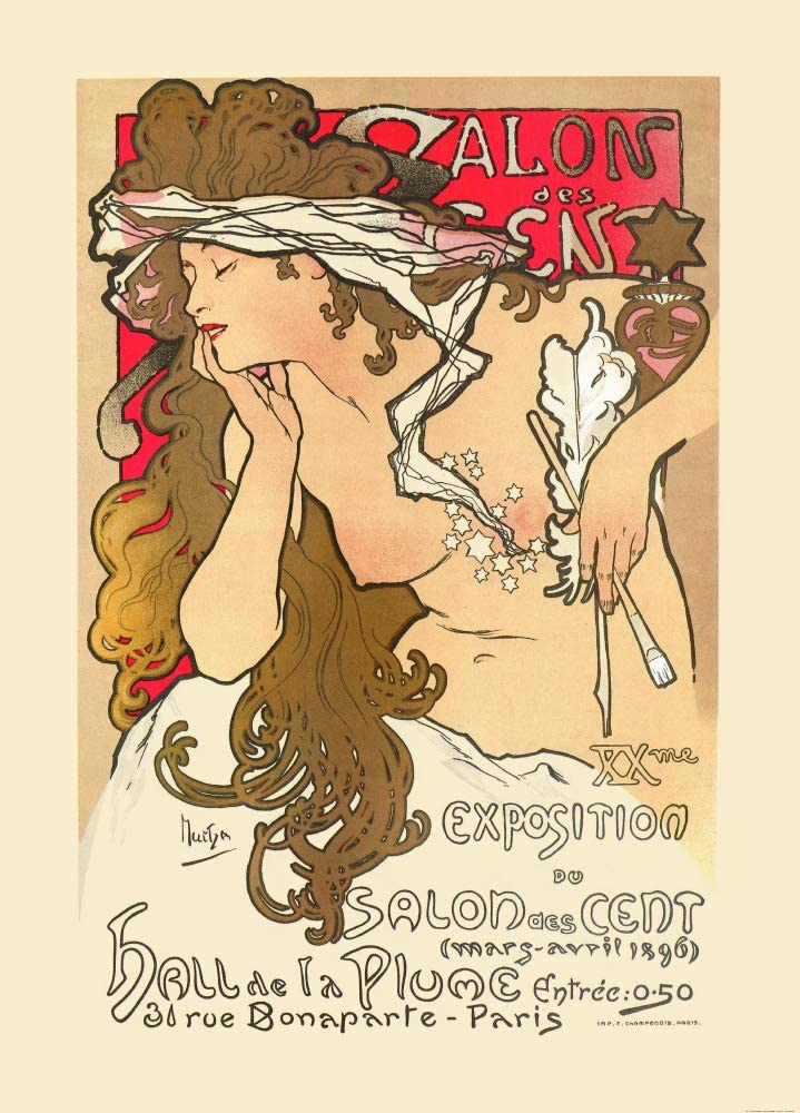 1art1 Alphonse Mucha Poster Adhesive Photo Wallpaper - Salon Des Cent, Paris 1896, 2 Parts (98 x 71 inches)