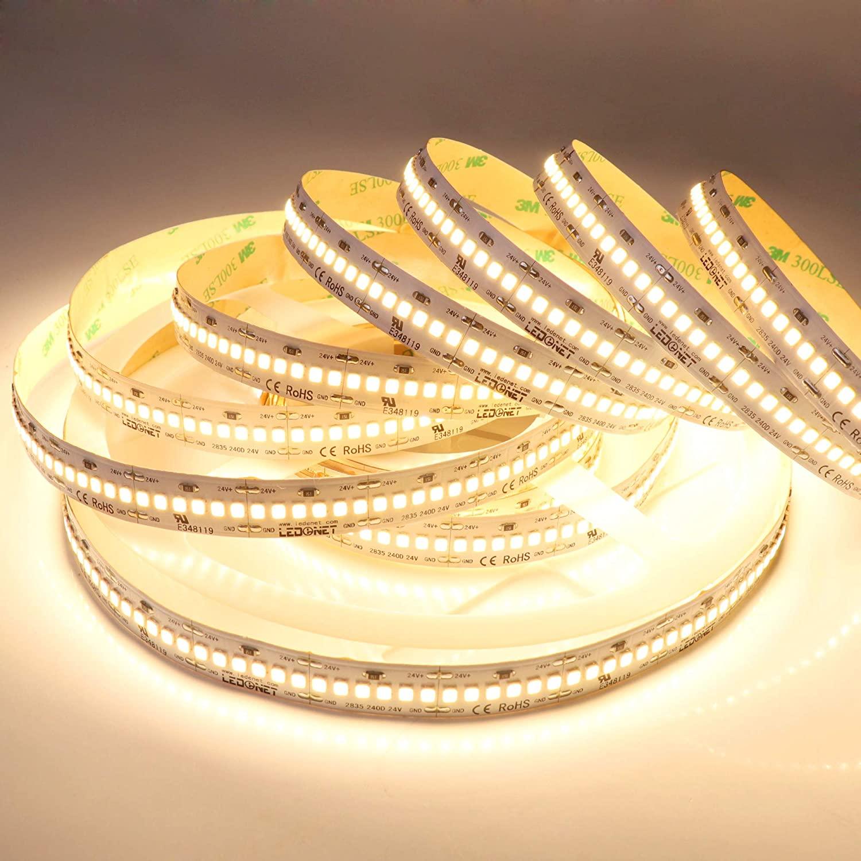 LEDENET 16.4FT Dimmable Warm White Flexible LED Strip Lighting 24V 1200LEDs/spool 2835 Flex Ribbon Tape Lamp High Density Linear Light (Warm White)