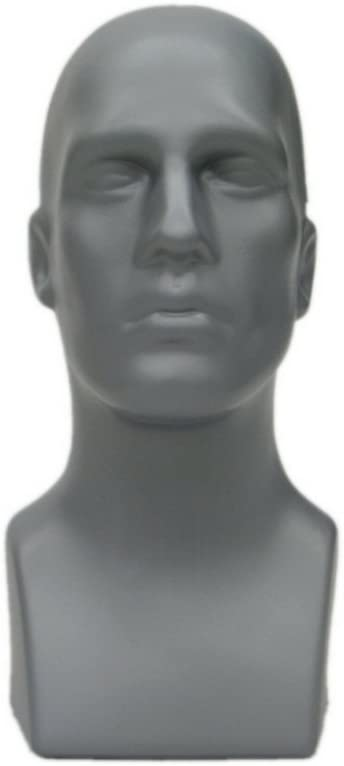 """Male Mannequin Head (Grey) – 16"""" Tall – (#PS-M-GY)"""
