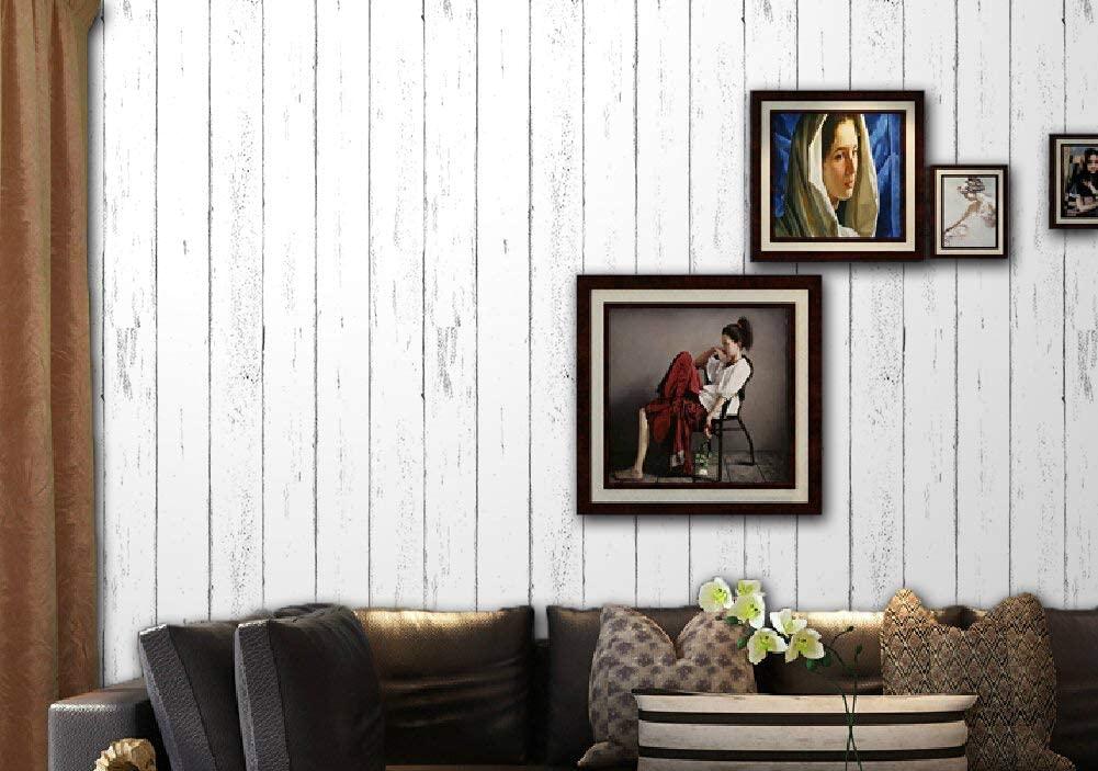 Dwind 1075-3 3D Wood Self Adhesive Wallpaper Peel and Stick Shiplap White Wood Plank Wallpaper 1.48ft x 9.8ft