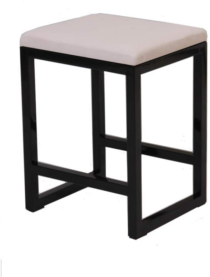 SSHHI Stool,Environmental Protection Faux Leather Square Metal Frame Stable Stools,Comfortable Easy to Clean Modern/White / 353045cm