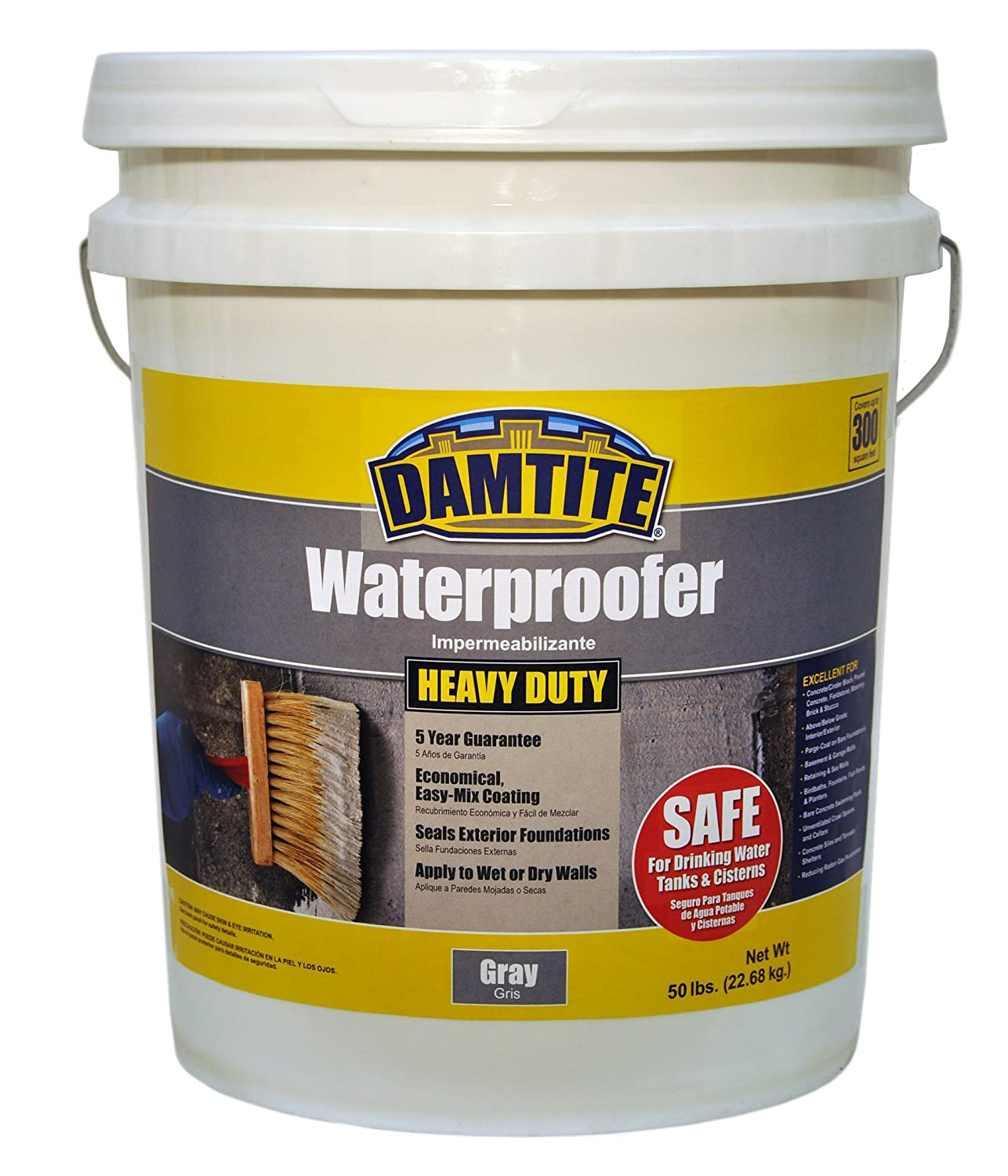 Damtite 02551 Gray Maximum Coverage Powdered Waterproofer, 50 lb. Pail