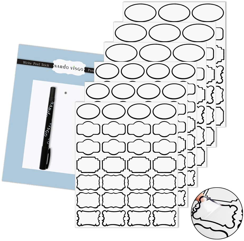 Nardo Visgo Transparent Clear Stickers Labels with Black Border,Removable Waterproof Transparent Jars Labels in Assorted Sizes for Jars,Storage Containers or Craft Decoration,138pcs …