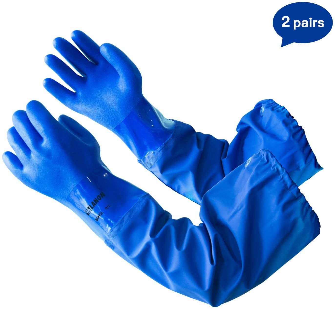 LANON PVC Coated Chemical Resistant Gloves, 2 Pairs 26 Inch Reusable Heavy Duty Safety Work Gloves, Elbow Length, Non-Slip, Large