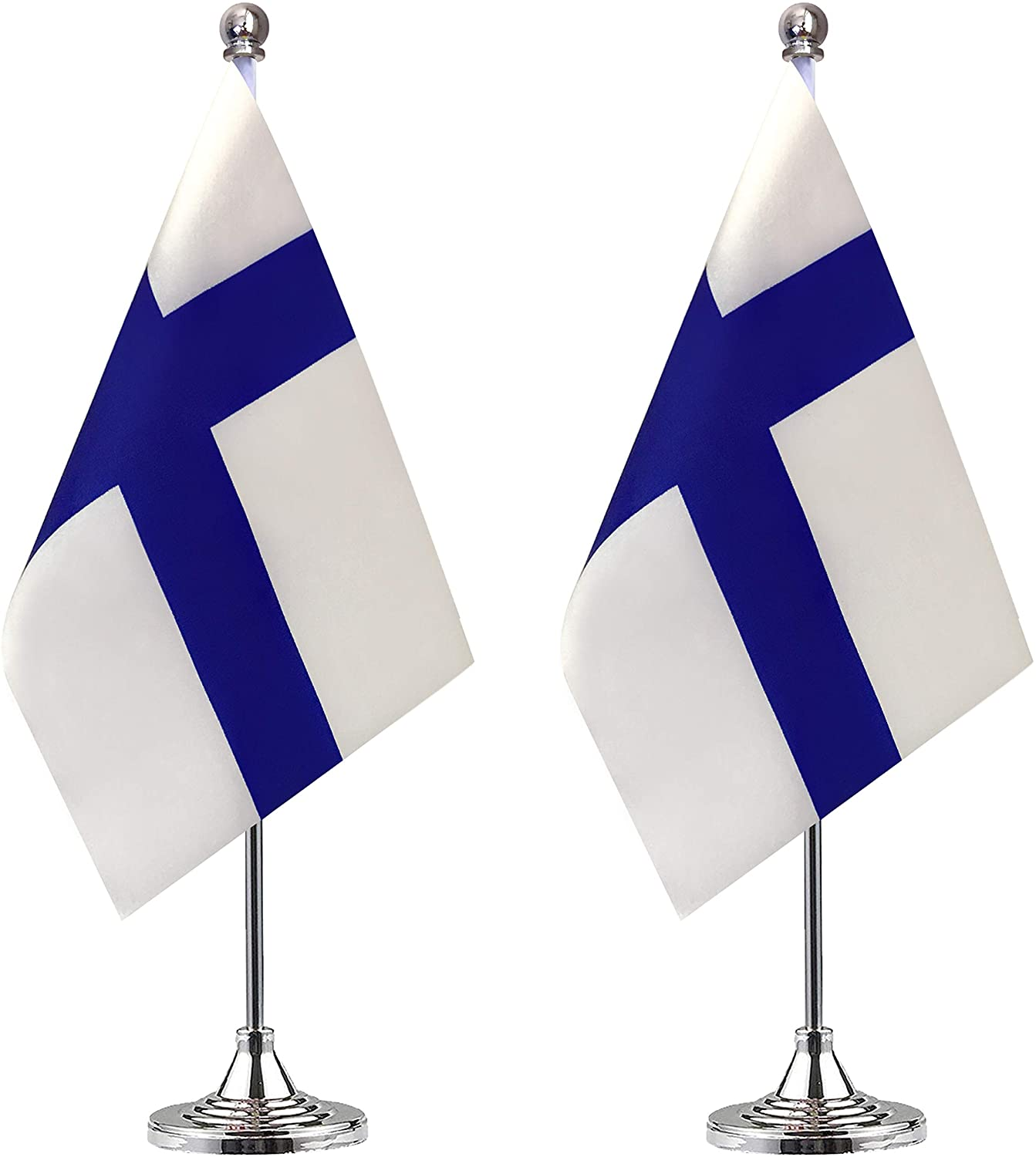 Finland Desk Flag Small Mini Finnish Office Table Flag with Stand Base,Finnish Themed Party Decorations Celebration Event,2 Pack
