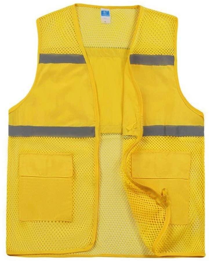Safety Vest Reflective Safety Vest, mesh Breathable Safety Vest high Visibility Traffic Night Riding Colorful Vest Safety Protection Child Safety Vest (Color : Yellow, Size : XL)