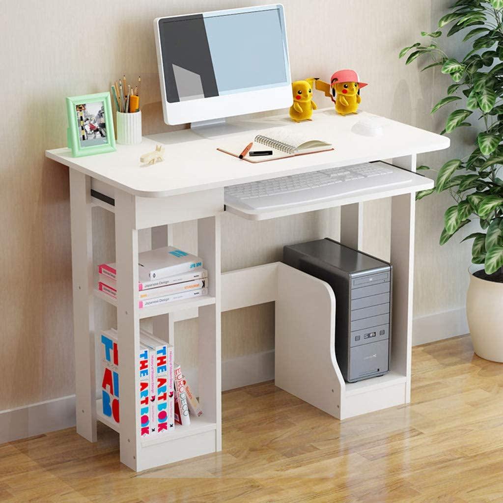 Desktop Home Computer Desk Modern Minimalist Desk Creative Desk Writing Desk with Keyboard Tray & & Host Pedestal lockers (35.4×18.9×28 in, White)