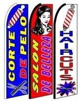 Corte De Pelo, Salon , Hair Cut King Size Swooper Flag Sign Pack of 3