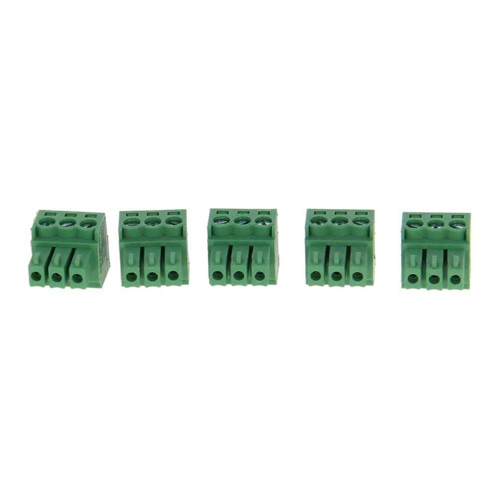 Fielect 5Pcs 300V 8A 3.5mm Pitch 3P Flat Angle Needle Seat Insert-in PCB Terminal Block Connector Green