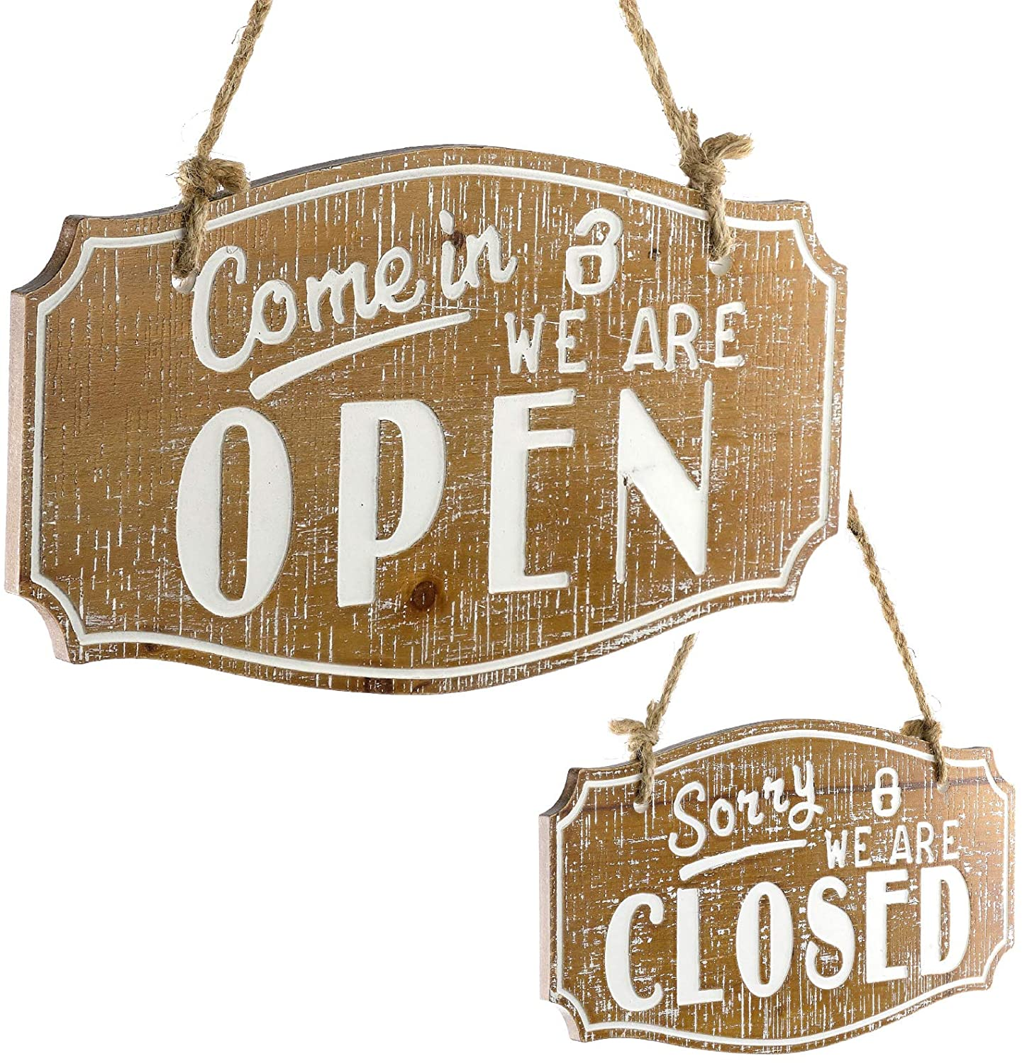 Come in We are Open/Sorry We are Close Sign Rustic Easy to Mount Informative Business Store Restaurant Bar Reversible Vintage Wooden Sign Decor 6 3/4 x 11 3/4 Inches (Brown)
