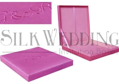 Rose Pink Silk Wedding Invitation Box Enhanced with Embroidery