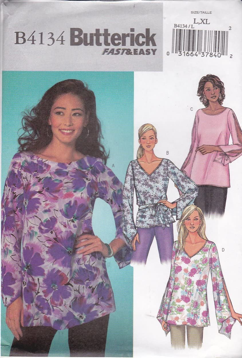 Butterick Sewing Pattern 4134 Misses Size 16-22 Easy Pullover Long Sleeve Top Tunic Belt