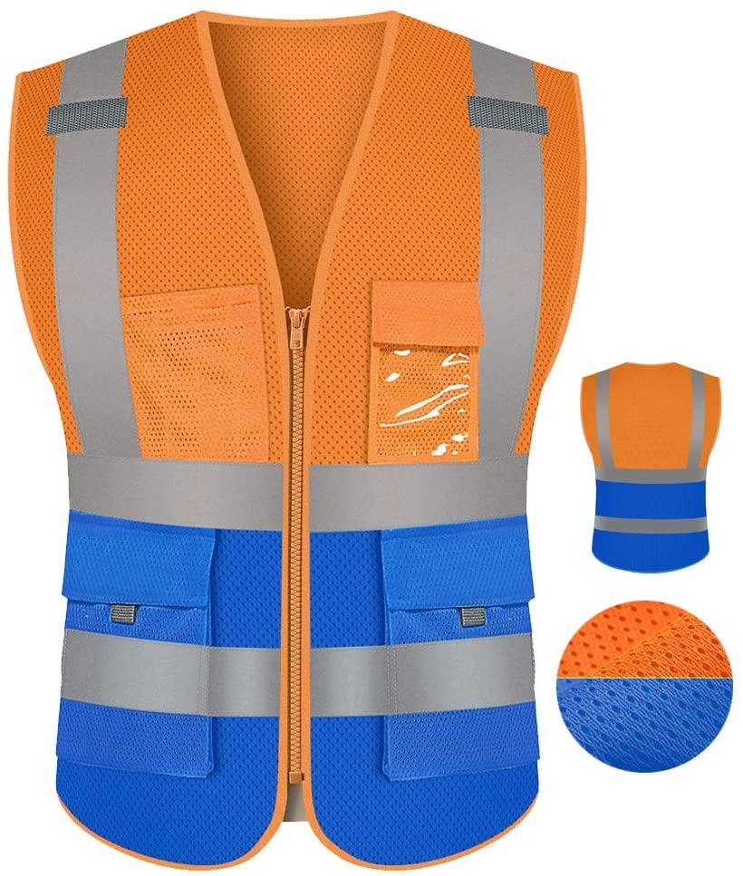 Hi Vis Fluorescent Orange Safety Vest Breathable Mesh For Men With Pockets And Zipper Construction Work Vest Workwear(2XL, Orange Blue)