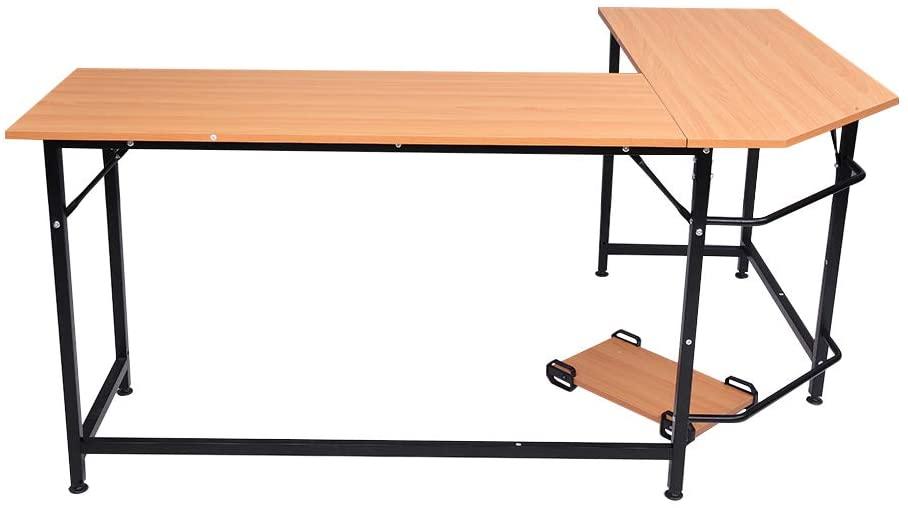 Zebery L-Shaped Desktop Computer Desk Beech Wood Color