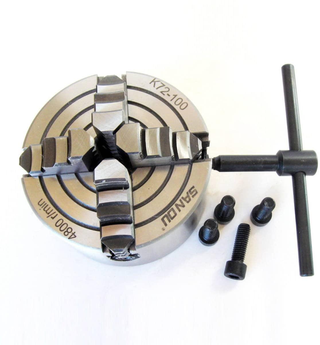 WS SANOU 100mm 4 '' K72-100 Four Jaw Chuck 4 Jaw Lathe Independent Chuck Turning Machine Tool
