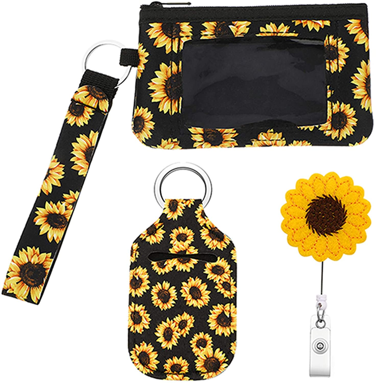 3 Pieces Sunflower Credit Card Organizer Zipper Wristlet Pouch Lipstick Holder Keychain and Sunflower Badge Holder Reel with Alligator Clip for Women