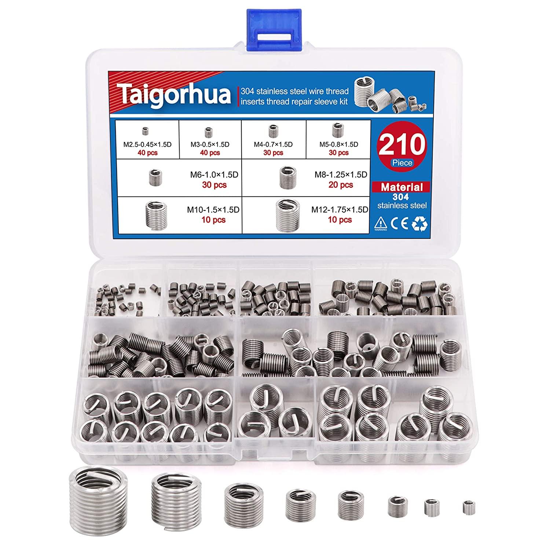 Taigoehua 210PCS Wire Thread Inserts Screws Sleeve Assortment Kit-Helical Type,1.5D (M2.5 M3 M4 M5 M6 M8 M10 M12) 304 Stainless Steel