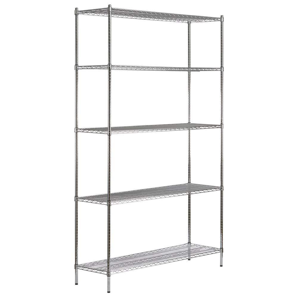 18 inch x 60 inch Chrome 5 Shelf Kit with 96 inch Posts. Storage Shelf. Garage Storage Shelves. Shelving Units and Storage. Food Storage Shelf. Storage Rack. Bakers Racks