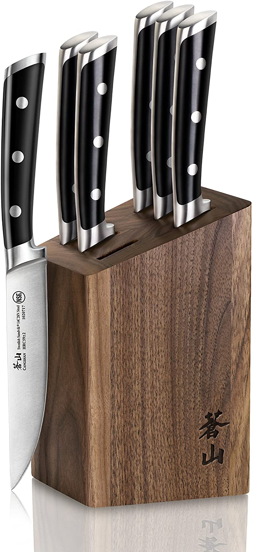 Cangshan TS Series 1022261 Swedish Sandvik 14C28N Steel Forged 6-Piece Steak Knife Block Set, Walnut