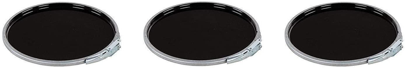 Vestil LID-STL-LL Steel Lever Lock Pail Lid, for 5 gallon, Black (Pack of 3)