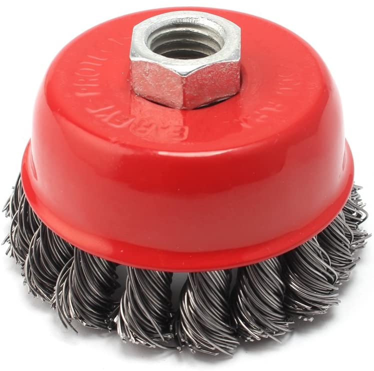 Wire Cup Brush, Knotted with M14x2.0. Threaded Arbor For Rust Corrosion And Paint Removal