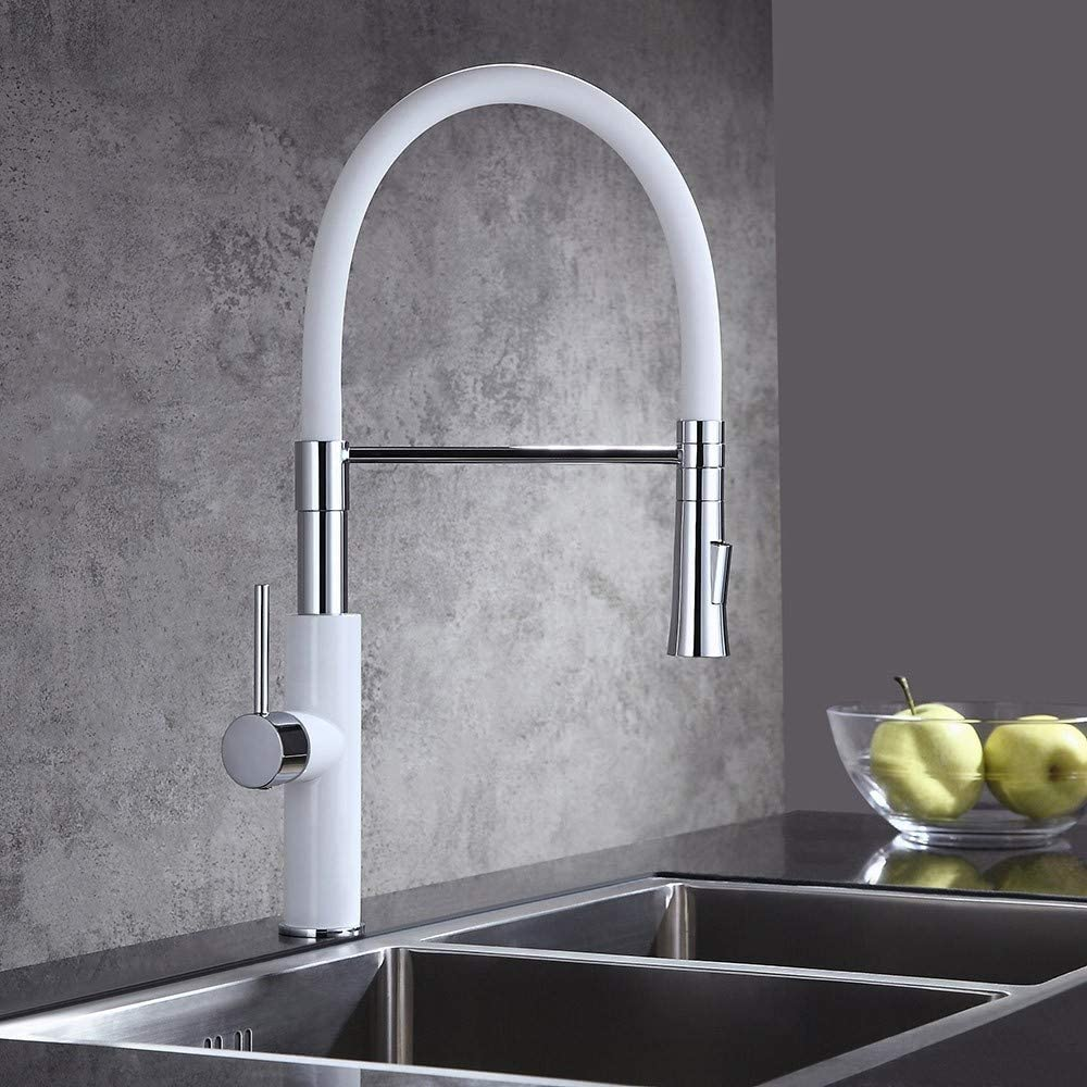 JinYuZe High-Arc Kitchen Sink Faucet Pot Filler 360 Degree Dual Function Single Handle Sleek Pull-Down Kitchen Faucet, White Chrome Finish