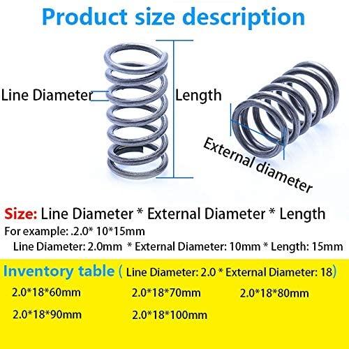 LF-Bolt, 5Pcs Pressure Spring Compressed Spring Retracing Spring Line Diameter 2.0mm, External Diameter 18mm, Length 60mm-100mm (Size : 80mm(5Pcs))