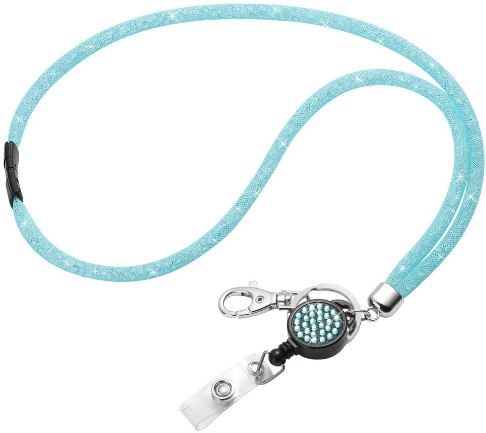 Breakeway Safety Clasp Lanyard Strap, Artscope 31.5'' Bling Crystal Nylon Mesh ID Card Holder Lanyard Neck Strap with Retractable Badge Reel (1 Pack - Sky Blue)