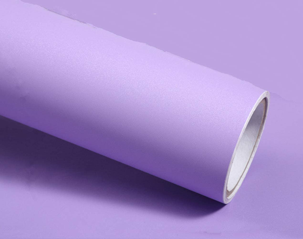 Frosted Solid Color Peel Stick Wallpaper Adhesive Vinyl Film for Kitchen Bathroom Countertop Decorative Paper 15.8inch by 6.56ft (Purple)