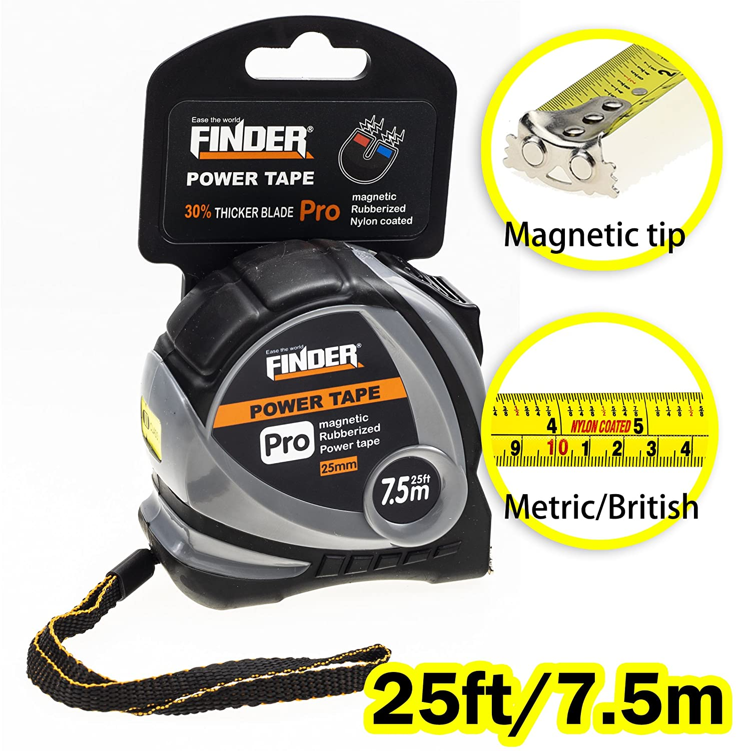 Finder Magnetic Tape Measure, Measuring Tape Self Lock 25-Foot  (7.5 Meter) Metric and Inches Retractable Measuring Tape with Wrist Strap for Construction, Craft, Home, Carpentry Measurement