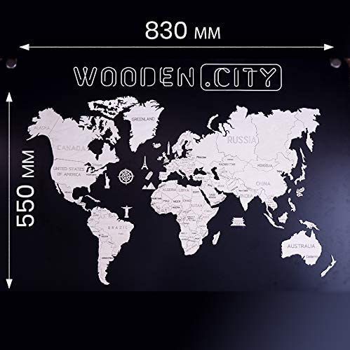 WOODEN.CITY Wooden World Map (L) Size 32.67 x 21.65 inches