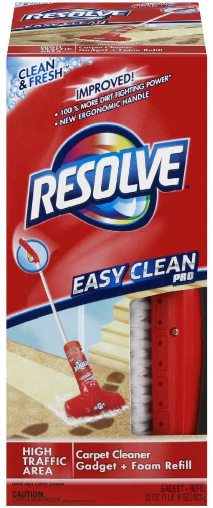 Resolve Easy Clean Pro Carpet Cleaner Gadget & Foam Spray Refill, Clean & Fresh 22 oz Can, Carpet Shampooer System (Pack of 6)