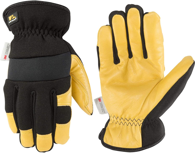 Men's Hybrid Leather Palm Winter Work Gloves, Large (Wells Lamont 3223)