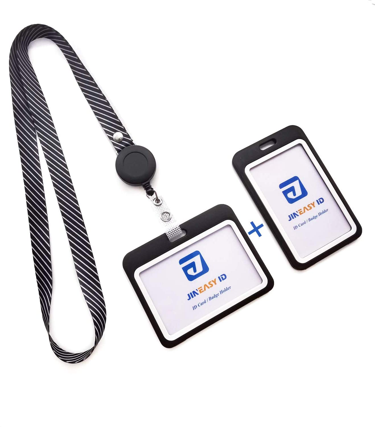 Jineasy ID Heavy Duty Lanyard and Retractable Reel with 2 Sets Hard Plastic ID Badge Holder