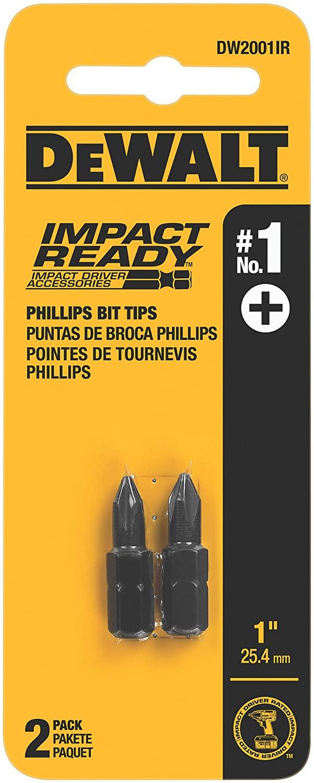 DEWALT DW2001IR No.1 Phillips Bit Tip Impact Ready