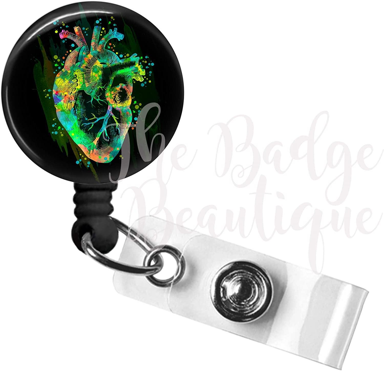 Heart Badge Reel, Retractable ID Badge Holder, Cardiology Swivel Alligator Clip, 34in. Nylon Cord, Medical MD RN Nurse Badge ID, Badge Holder, ID Badge Pull