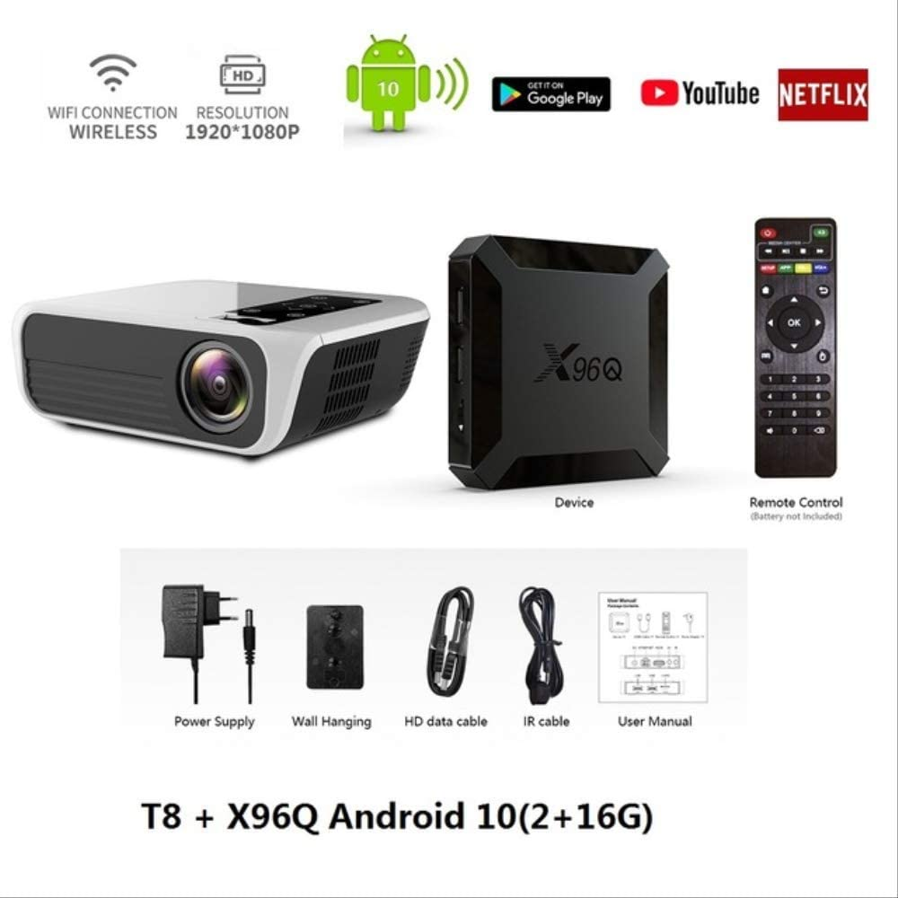 T8 8000 Lumens 1080p Full Hd Home Theater 200'' Projector 4k Hdmi WiFi Android 10(2+16g) Google Play YouTube Netflix WiFi Android 10