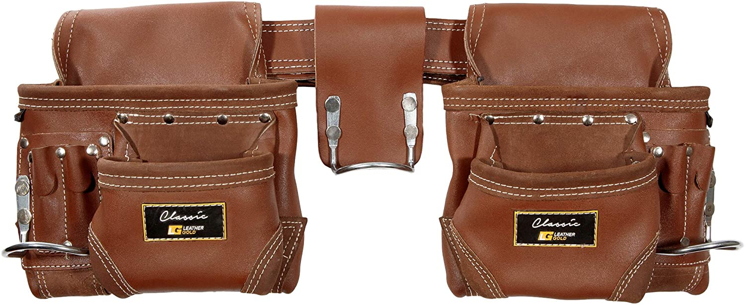 Leather Gold Genuine Leather Framer's Rig Tool Belt 3450 Brown, with 10 Sliding Pouches and 3 Hammer Holders   Built Tough for Construction Work   Comfortable All Day   Commercial Grade Quality