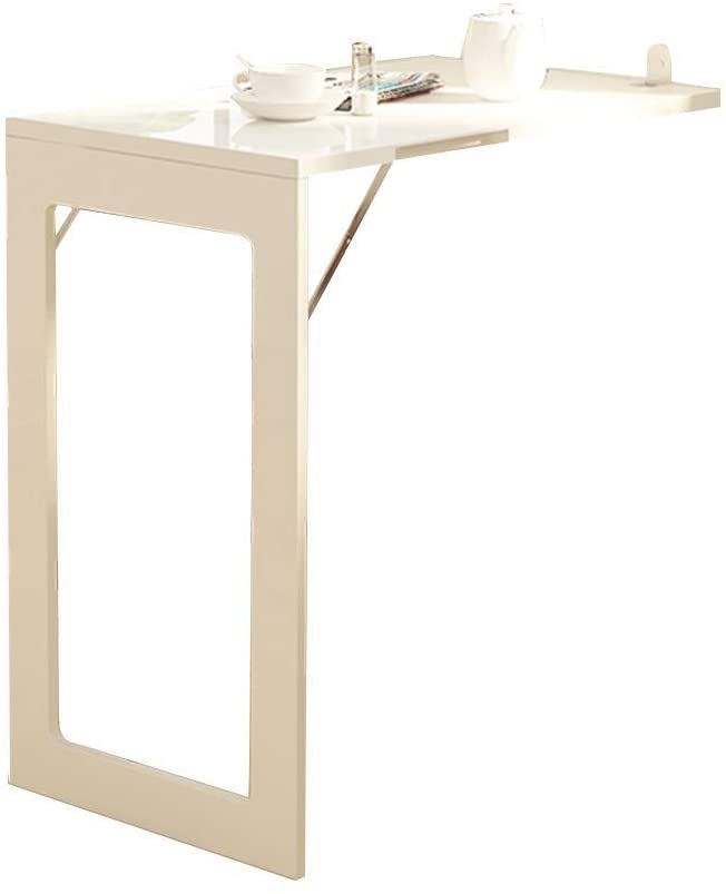 Wall-Hung Storage Table Desk,Laptop Stand Desk Multifunction Telescopic Furniture Office Restaurant, 2 Colors, BOSS LV, White, 74x45CM