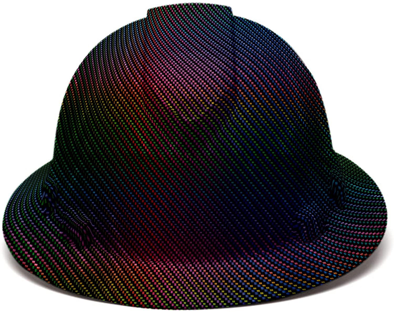 Rainbow Pyramex Full Brim Hard Hat, 6 Point Suspension, by Acerpal