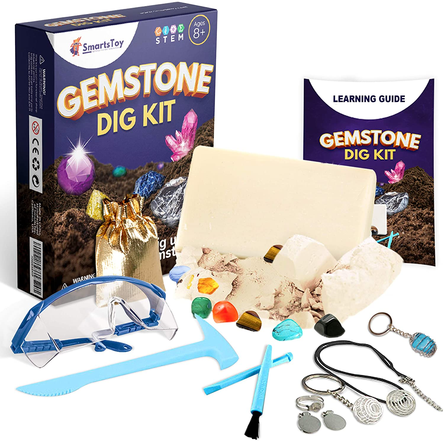 Gem dig kit with 12 Real Gemstones for Kids - Rock Collection Science kit with Excavation Tools, Goggles & Storage Bag, Keychain - Archeology Stem Activities for Kids Ages 6 7 8 9 10