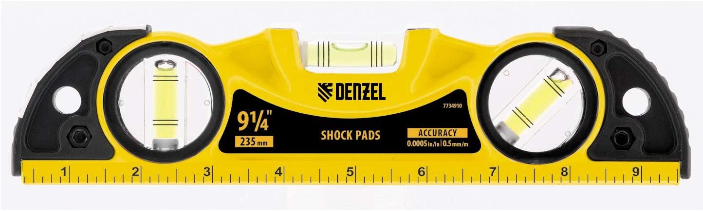 DENZEL Level and Tool magnetic head Torpedo Spirit level aluminium body (9-1/4-inch 3 vials, 2 impact pad)