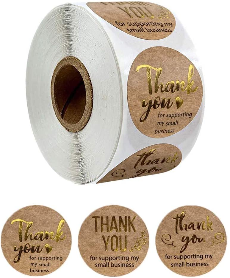 fooderstoury Sticker Labels 500pcs/roll Thank You for Supporting My Small Business Kraft Stickers Gold Foil