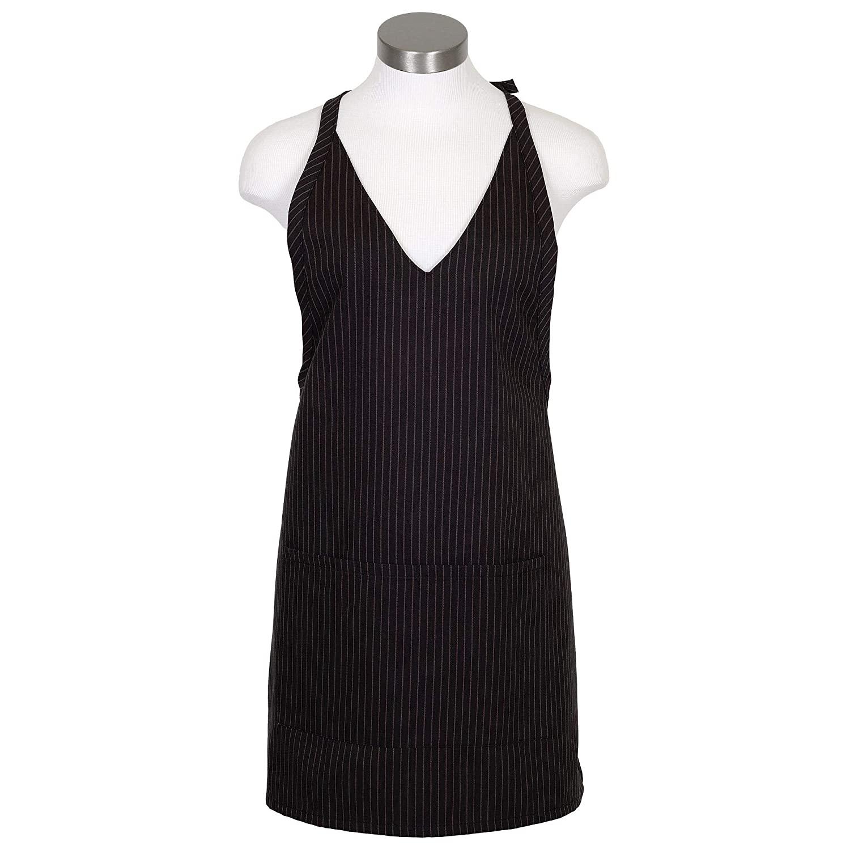 Fame Fabrics 33561 F23 V-Neck Snap Closure Bib Apron, Black & White Pinstripe