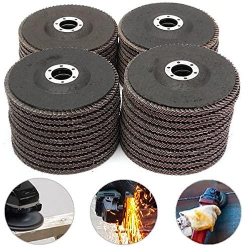 CoCocina 10pcs 5 Inch 125mm 40/60/80/120 Grit Aluminum Oxide Flap Disc Sanding Grinding Wheels - #120