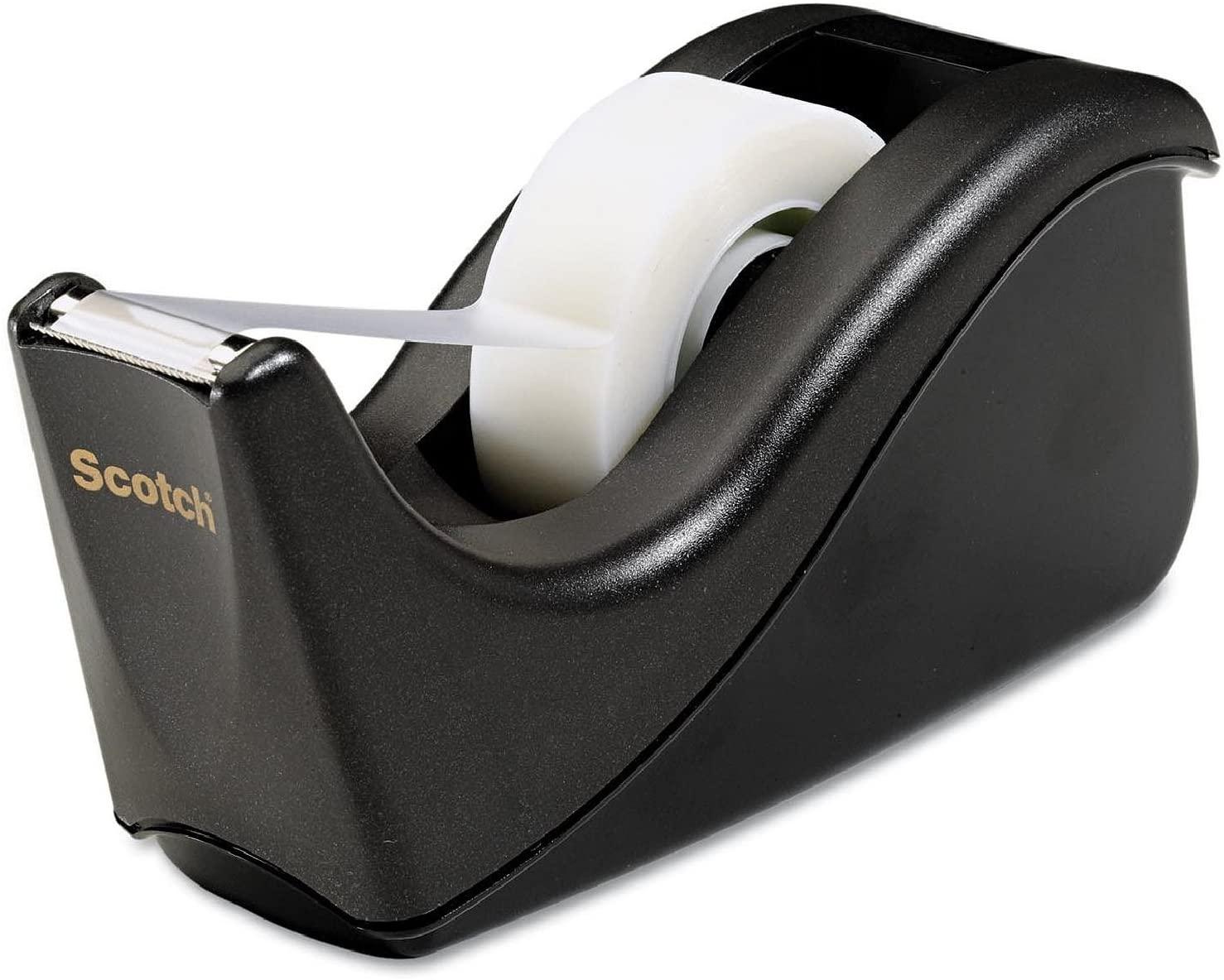 Scotch Value Desktop Tape Dispenser, 1 Inch Core, Two Tone Black (C60-BK) (Pack of 3)