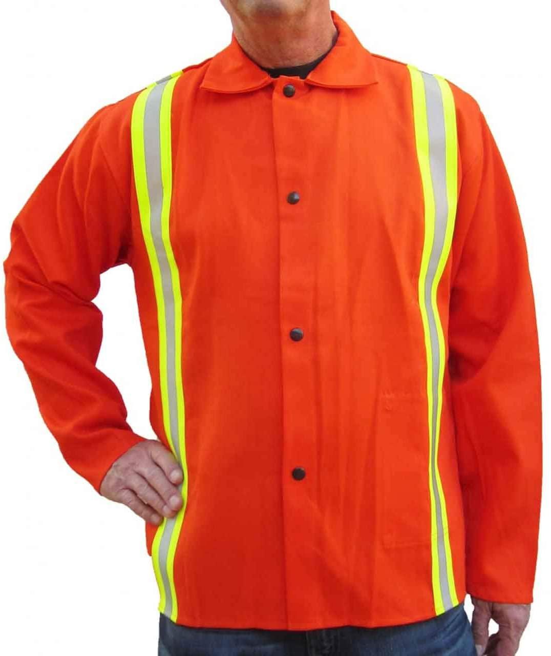 Tillman 6230DRQ 30 9 oz. Orange FR Cotton Welding Jacket with Reflective Tape, 4X-Large