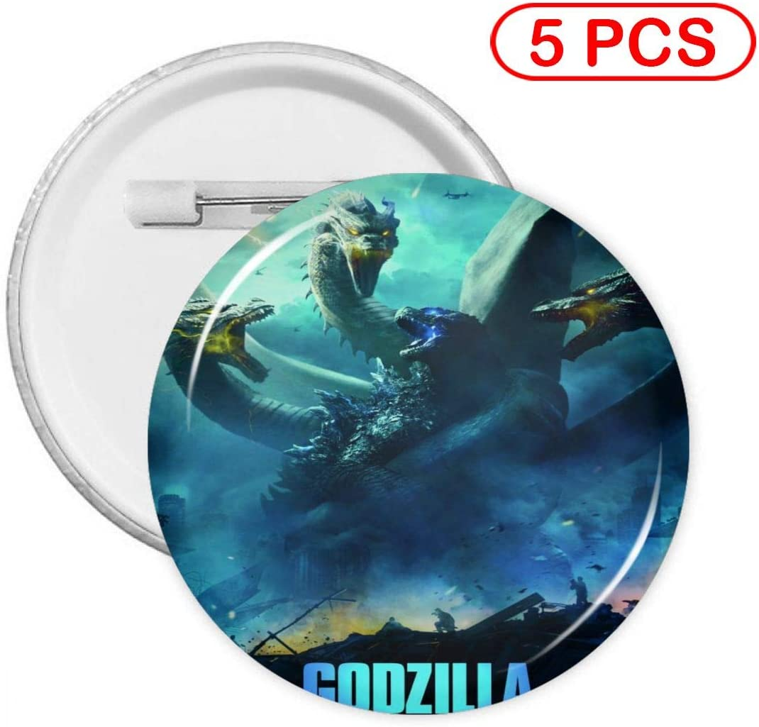 Anime Godzilla King of The Monsters Round Badge Pin Round Button Badge Cute Collection Brooch Pin Button 5 Pcs Small
