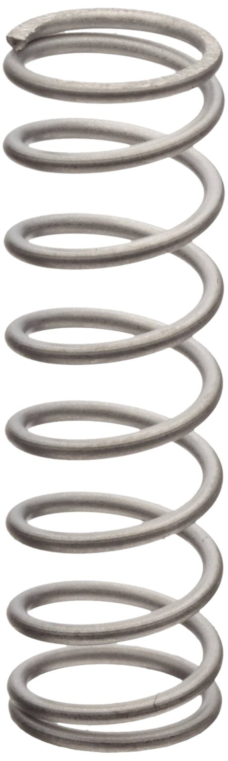 Compression Spring, 302 Stainless Steel, Inch, 0.6 OD, 0.045 Wire Size, 1.272 Compressed Length, 3 Free Length, 5 lbs Load Capacity, 2.92 lbs/in Spring Rate (Pack of 10)